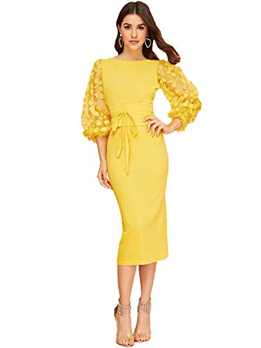 SheIn Women's Elegant Mesh Contrast Bishop Sleeve Tie Front Bodycon Pencil Dress X-Large Yellow