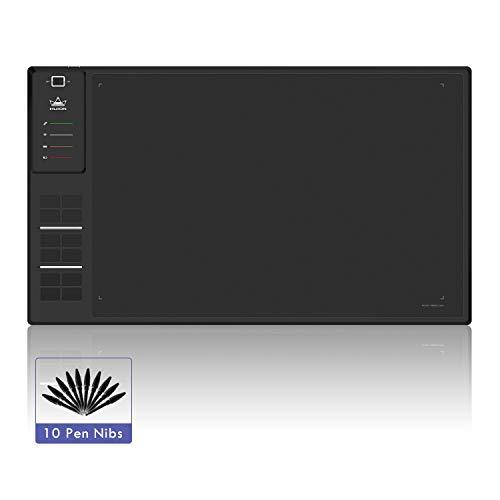 HUION Tableta Gráfica Inalámbrica de Dibujo WH1409 350 * 218 mm con 8192 Niveles de Lápiz, 12 Teclas de Accesos Directos