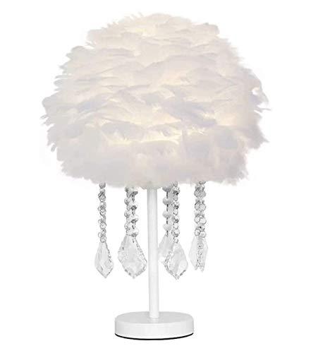 FGDSA Lámpara De Mesa De Plumas Blanca, Colgante De Cristal, Lámpara De Escritorio para Mesita De Noche, Lámpara Decorativa Creativa Y Cálida para Niña Princesa