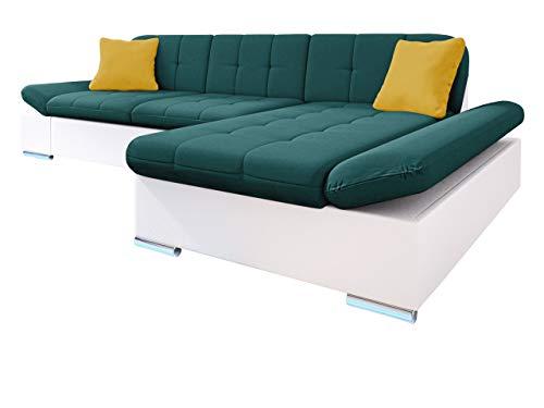 Ecksofa Malwi LED, Regulierbare Armlehnen und LED Beleuchtung im set, Eckcouch mit Schlaffunktion und Bettkasten, L-Form Couch, Sofa, Wohnlandschaft (Soft...