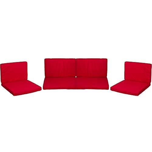 Beo Lounge Kissen Monaco | passend für Allibert Lounge-Möbel | Rot | 8 Kissen | Bezug 100% Polyester | wasserabweisend | maschinenwaschbar | mit Reißverschluss | schadstofffrei nach Öko-Tex-Standard