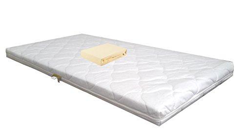 Baby schuimkernmatras Comfort gewatteerd 60 x 120 wit + jersey hoeslaken ecru babymatras matras schuimstof laken
