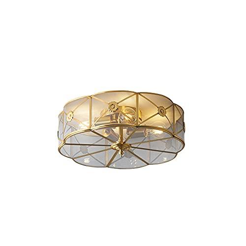 WFZRXFC Diseño de marco dorado de latón europeo Luz de techo de montaje semi empotrado Cuerpo de lámpara con decoración de flores Lámpara de techo Iluminación de techo de pantalla de vidrio transparen