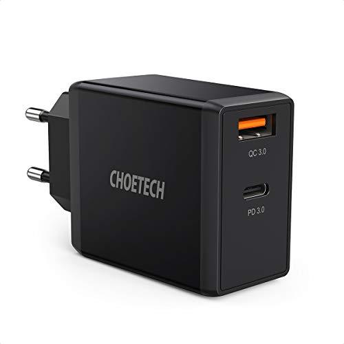 CHOETECH 36W USB C Ladegerät, 18W Power Delivery + Quick Charge 3.0 18W mit 2-Port,USB C Schnellladegerät für iPhone SE/11/11 Pro/XS/XR/XS Max/X/8, iPad, Galaxy S20/S10/S10E/S9 /Note 10/9,Huawei usw