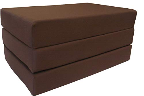 "D&D Futon Furniture Brown Coffee Twin Size Shikibuton Trifold Foam Beds 6"" Thick X 39"" w X 75"" l Long, 1.8 Lbs High Density Resilient White Foam, Floor Foam Folding Mats."