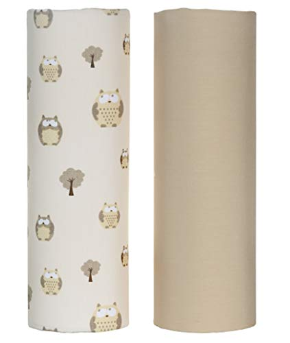 Cuddles & Cribs 2 Pack GOTS Certified Organic Cotton Fitted Crib Sheet - Tan, Owl