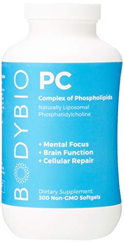 BodyBio - PC Phosphatidylcholine + Phospholipids - Liposomal for High Absorption - Optimal Brain & Cell Health - Boost Memory, Cognition, Focus & Clarity - 100% Non-GMO - 300 Softgels