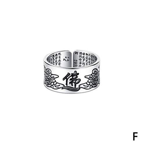 ZHANGJSechs Zeichen Damen Silber Ring Männer Feng Shui Amulett Glück Offen Verstellbaren Ring Buddhistischen Schmuck Geschenk, Resizable, Pink