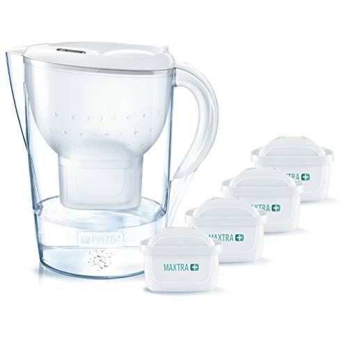 BRITA Wasserfilter Marella XL inkl. 4 MAXTRA+ Pure Performance Filterkartuschen (Weiß)