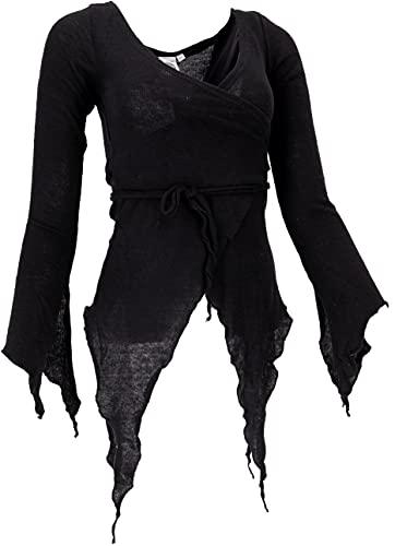 GURU SHOP Pixi - Cárdigan envolvente de algodón para mujer, abrigos y ponchos, alternativa Negro M - L