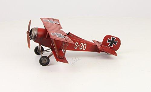 Décoration Tôle Avion biplan rouge Baron Nostalgie Rétro Vintage, Largeur 25cm
