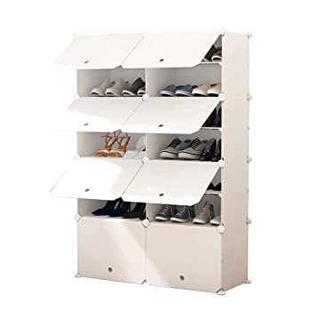 JOISCOPE Portable Shoe Storage Organzier Tower  Modular Cabinet Shelving for Space Saving Shoe Rack shelves for shoes boots Slippers  2x7-tier