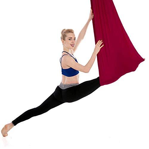 Hamaca Elástica Yoga Aéreo, Aerobic Stepper Fitness Ejercicio para Yoga Antigravedad, Ejercicios De Inversión, Flexibilidad Mejorada Y Resistencia Del Núcleo - Accesorios De Montaje Incluidos,Rojo