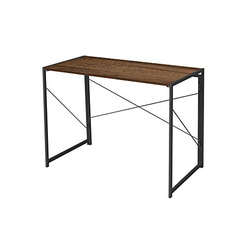 AZ L1 life Concept Writing Computer Desk Modern Simple Study Desk Industrial Style Folding Laptop Table for Home Office Notebook Desk Dark Brown and Black Frame 39.4 Inch