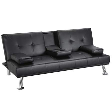 GJR LuxuryGoods Modern PU Leather Futon w/Cupholders & Pillows, Black