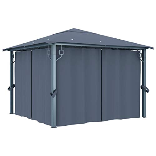 Festnight Gazebo with Curtain Waterproof and Anti-UV, for Outdoor Picnic Dinners BBQs 300x300 cm Anthracite