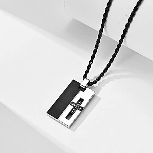 maozuzyy Collar Colgante Joyería Colgante Cruzado con Incrustaciones De Acero Inoxidable para Hombres, Nueva Marea, La Gente USA Collar De Acero Tiki