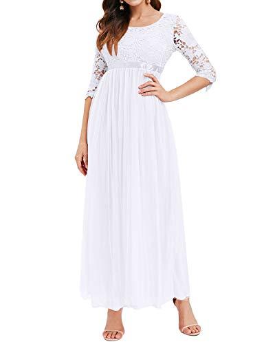 Auxo Damen Kleider Lang Abendkleid Elegant Spitze Chiffon Festlich Brautjungfernkleid Ballkleid Weiß Small