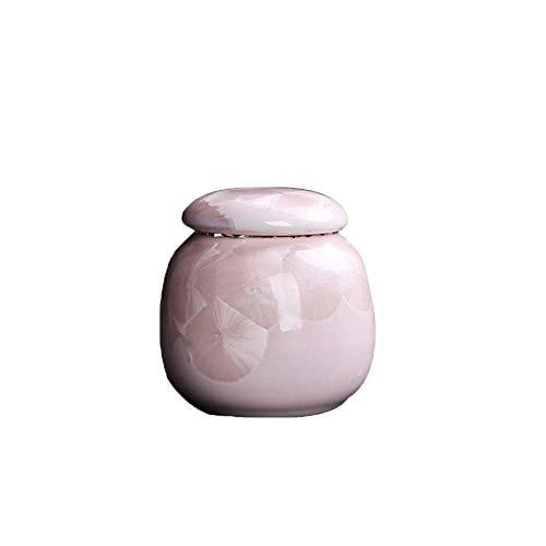 GONGFF Kleine Urne Erwachsene Asche, Mini Feuerbestattung Urnen für Haustier Hund Katze, rosa Keramik Andenken, Beerdigung Urne zu Hause oder Friedhof, 6.10in3