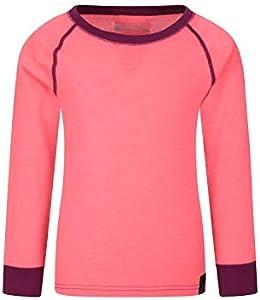 Mountain Warehouse Camiseta térmica Lana Merino para niños con Cuello Redondo - de Mangas largas, cálida, Transpirable, Camiseta para niños de Secado rápido Rosa Brillante 9-10 Años