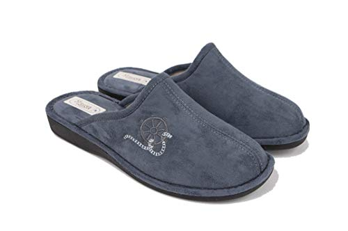 3Rose Ciabatte/Pantofole Uomo Invernali MOD. Pino, Calde e comode da casa e da Esterno, Vellutino e Lana Cotta, Art. 763 (Grigio, Numeric_45)