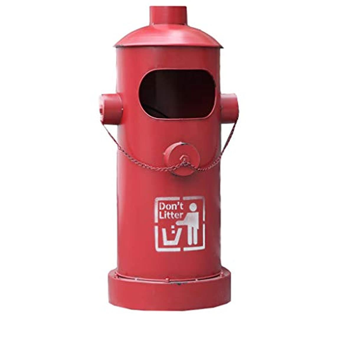 American Retro Industrial Style Outdoor Wrought Iron Hydrant Shape Trash Can Office Rubbish Bin Waste Container,Garbage Can (Color : Red)
