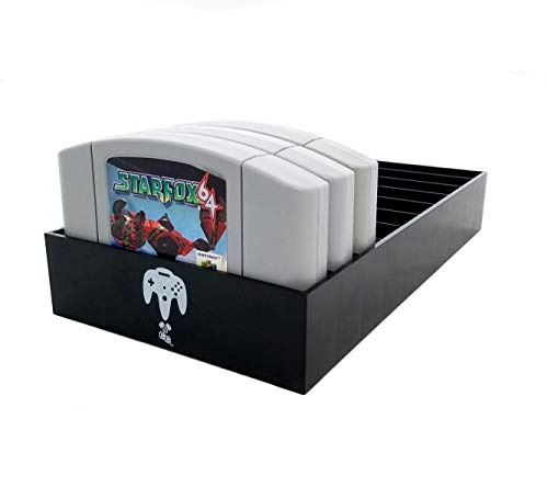 Collector Craft, Black, N64 Compatible Cartridge Holder, N64 Game Tray, Holds 10 Games, Organization, Retro Video Game Collection, Works with Nintendo 64 NTSC and PAL Cartridges