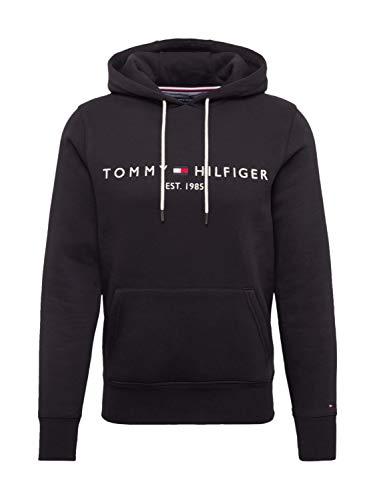 Tommy Hilfiger Herren Tommy Logo Hoody Sweatshirt, Schwarz (Jet Black Base), Medium (Herstellergröße: M)