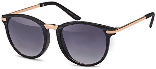 Vintage Sonnenbrille im 60er Style mit trendigen bronzefarbenden Metallbügeln Panto - Retro Brille (smoke-Holzoptik-Gradient)