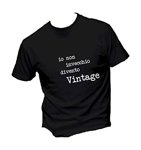 Vestin T-Shirt Uomo Cotone Basic - IO Non INVECCHIO DIVENTO Vintage - Made in Italy (S, Nero)