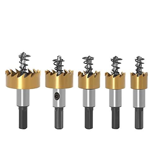 5 piezas 16 mm / 18,5 mm / 20 mm / 25 m / 30 mm Hss kit de sierra de agujero de punta de carburo para metal con llaves puntas de fresado de seguridad