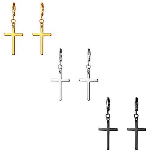 Flongo 3 coppie Orecchini a croce lunghi orecchini a cerchio piccoli, Orecchini in acciaio inossidabile Oro Argenteo Nero, Orecchini da donna uomo stile hip hop unisex