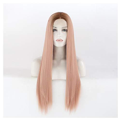 LUZIWEN Mme la mode européenne à long bonnets crochet dentelle moitié perruque perruque rose droite (Color : 26 inches)