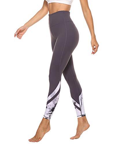 JOYSPELS Leggings Damen, Sporthose Lang Yogahosen, Sport Leggins für Damen Yoga Tights, Grau, L=DE42/44