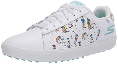 Skechers Women's Go Drive Dogs at Play Spikeless Golf Shoe, White/Blue, 7.5 M US