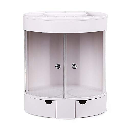 xldiannaojyb Caja de Almacenamiento cosmética, plástico de Escritorio Tocador lápiz Labial Soporte a Prueba de Polvo, Productos for el Cuidado de la Piel Transparente Shelf (Color : White)