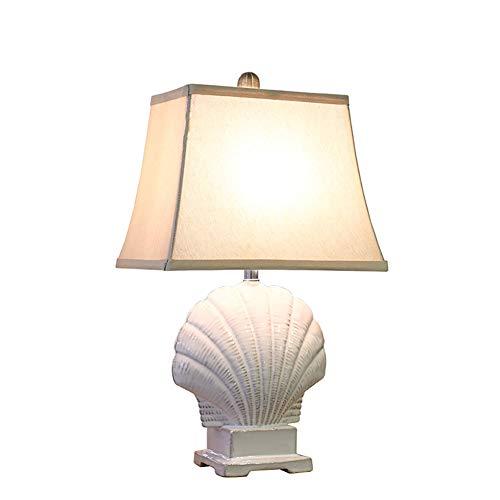 LY-LAMPADE Lampada da Tavolo in Ceramica Stile Rustico Bianco Mediterraneo, Paralume in Tessuto Doppio Lucidato A Mano, Lampada da Comodino della Camera da Letto Creativa