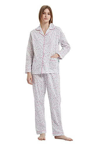 GLOBAL Womens Pajamas Set 100% Cotton Womens PJs Drawstring Sleepwear for Women