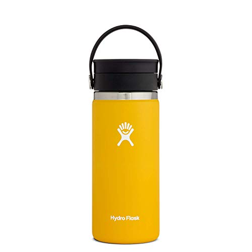 Hydro Flask Termo de café de viaje de 473ml (16 oz), acero inoxidable y doble pared al vacío, boca ancha con tapa Flex Sip™ hermética, Sunflower