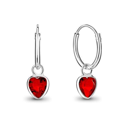 DTPsilver Pendientes de Aro Pequeños con colgante de Corazón Cristal Swarovski Elements - Plata de Ley 925 - Espesor 1.5 mm - Diámetro 14 mm - Color: Rojo Siam