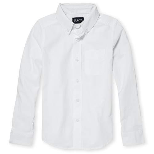 The Children's Place Big Boys' Long Sleeve Uniform Oxford Shirt, White 5063, X-Large/14
