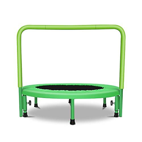 Mini-Trampolin für Kinder Tragbares Kindertrampolin mit verstellbarem Handlauf und gepolsterter Sicherheitsabdeckung für den Innen- und Außenbereich Grün
