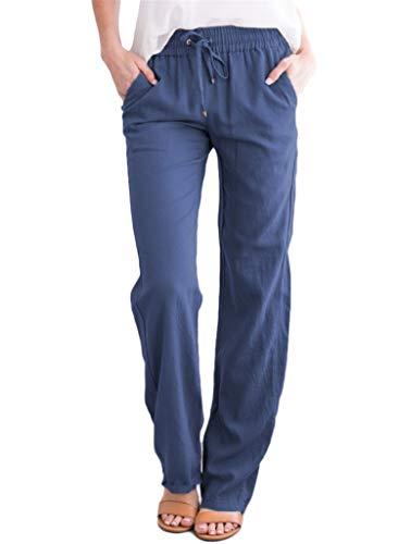 Fantastic Deal! Andongnywell Women's Casual Linen Long Pants Elastic Waist Trousers Cotton Wide Draw...