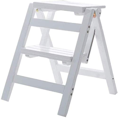 Suge Wooden Ladder Stool Folding Ladder Stools Stairs 3-Step Stool Multifunction Dual Use Change Shoes Flower Stand Solid Wood (Color : -, Size : -)