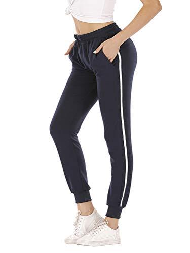 ORANDESIGNE Pantaloni Donne A Vita Alta Harem Pants Elastico in Vita A Striscia Laterale Pantaloni Sportivi da Donna Jogging Fitness Moda Lunghi A Blu Medium