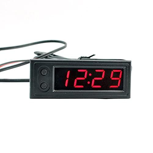 DEFTSHEEP 1 UNID DIY Multifunción Reloj de Alta precisión Interior y Exterior Temperatura de automóvil Monitor de Voltaje de batería Meter DC 5-28V Reloj (Color : RD)