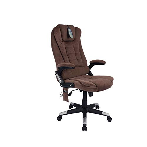 Executive Office Chair with Massage KORSER High Back Computer Desk Chair Heated Vibrating Chair Adjustable Ergonomic Desk Chair (Brown, Drapery)