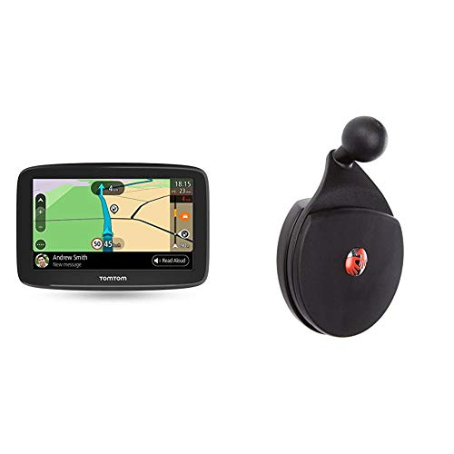 TomTom Navigationsgerät GO Basic (5 Zoll, Stauvermeidung Dank TomTom Traffic, Karten-Updates Europa, Updates über WiFi) & Amarturenbretthalter (geeignet für TomTom Start und Via Navigationsgeräte)