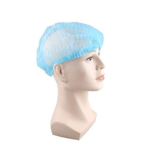 DeFFeng 100Pcs Bonnet De Douche Jetable Non Tiss¨¦ Pour Cheveux Pliss¨¦ Anti-Poussi¨¨re Chapeau De Laboratoire Blanc Bleu - Bleu