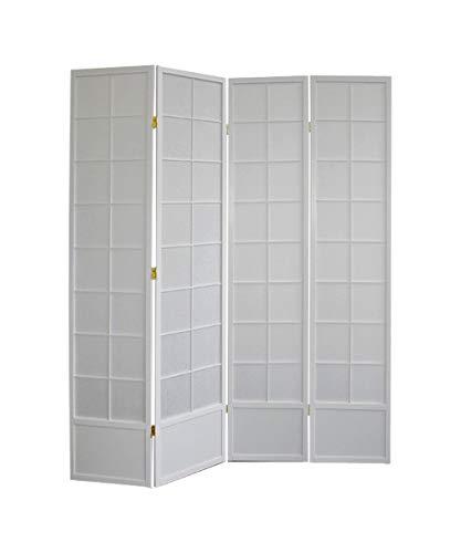 Paravents by Cilios Paravent Hoshi Style 4 XL White - lichtdurchlässiger Paravent mit Shoji Art, Sondergröße 190 cm Höhe